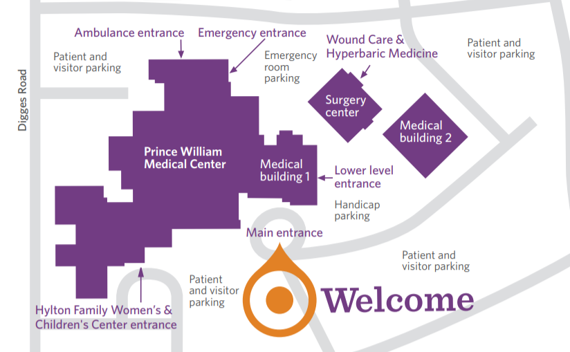 Printable map of Prince William Medical Center